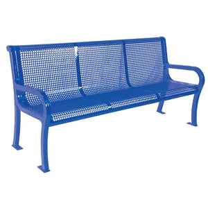 Lexington Perforated Bench with Back | WillyGoat Playground & Park Equipment