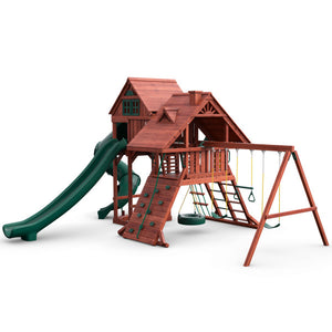 Sun Palace Deluxe Wooden Swing Set - Standard Wood Roof | WillyGoat Playground & Park Equipment