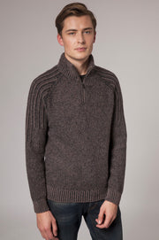Mens Zip thru cardigan with elbow patch