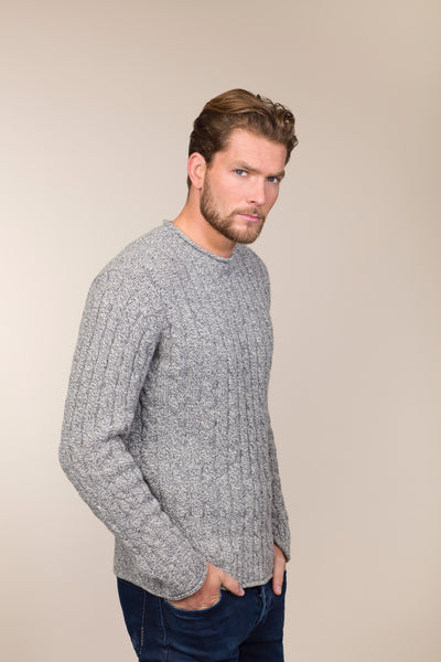 Cashmere and Merino Wool Cable & Rib Crew neck