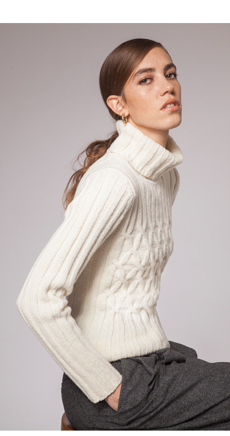 Cashmere & Merino wool Polo Neck with Cross Cable