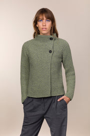 Cashmere and Wool 2 Button Ribbed Cardigan