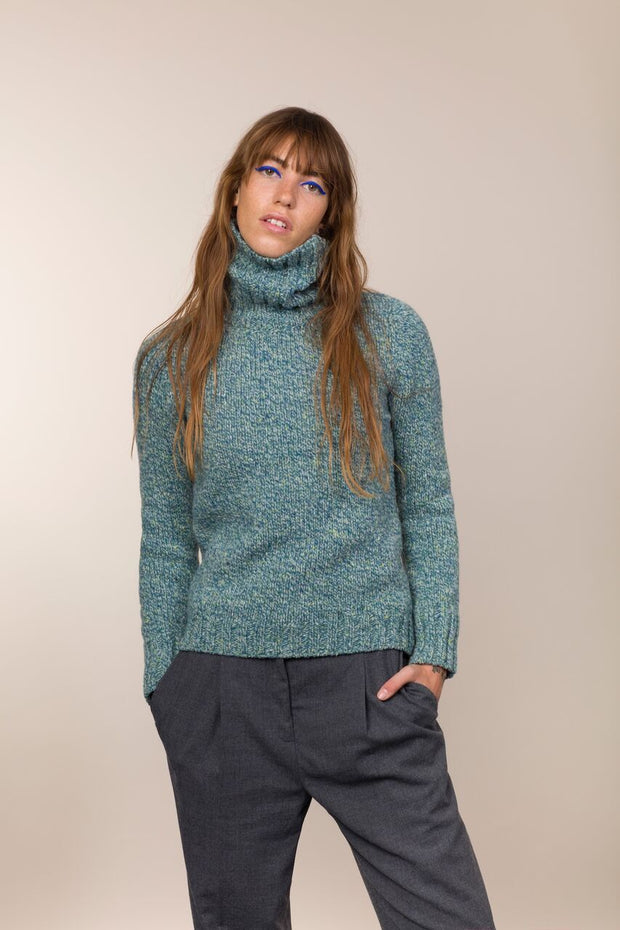 Polo Neck with Ribbed Trims