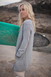 Cashmere and Merino Wool Long Open Seed Stitch Cardigan
