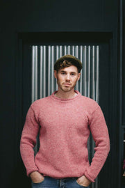 Men's Donegal Flecked Tweed Sweater Dusty Pink