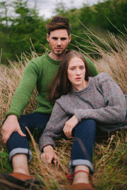 Flecked Tweed Yarn Roll Neck Sweater