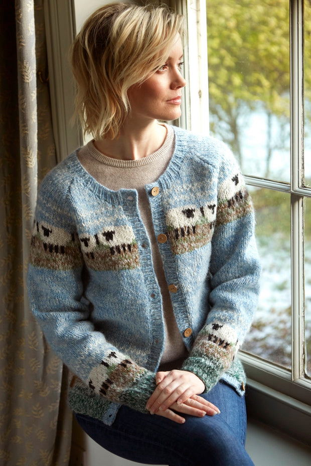 Wool & Mohair Lazy Sheep Cardigan with Coconut buttons.