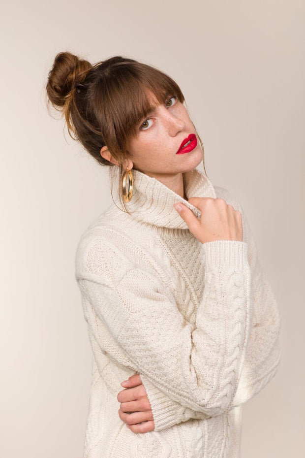 Aran V Cabled Funnel Neck Sweater