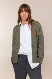 V Cardigan with Leather Toggle Closure