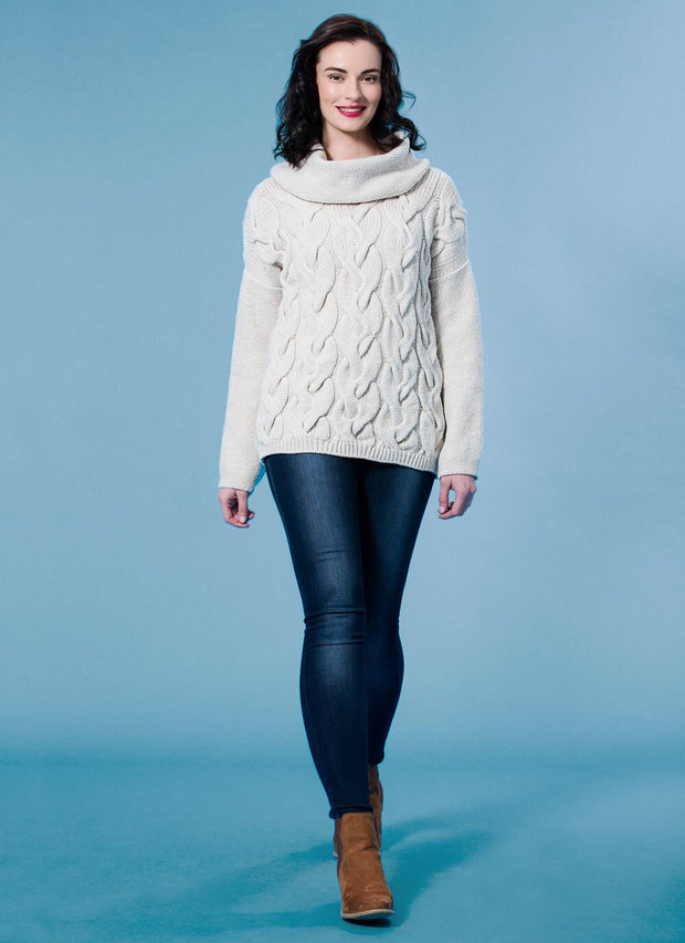 Fisherman Cowl Cable Sweater