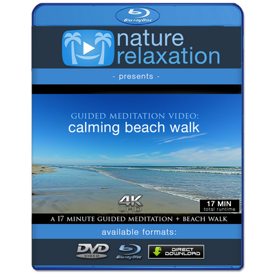 """Calming Beach Walk"" 17 Min Guided Meditation Video + Music in 4K"