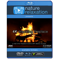 """4K Crackling Fireplace"" Static Video Scene - 2 or 4 Hours"