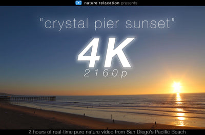 """Crystal Pier Sunset"" 2 HR Static Real Time Nature  Video 4K"