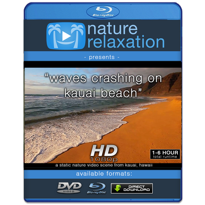 """Waves Crashing on Kauai Beach"" Looping Nature Relaxation Video Screensaver HD 1080p"