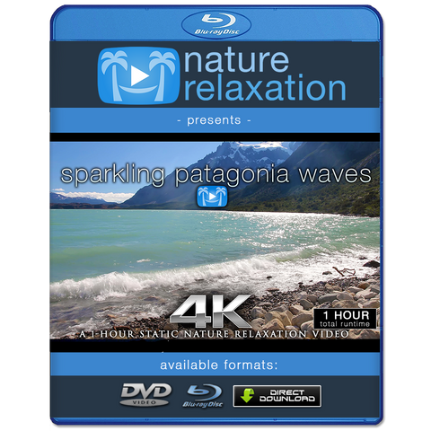 """Sparkling Patagonia Waves"" 1HR Static Nature Relaxation Video 4K"