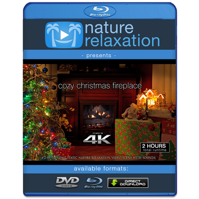 """Cozy Christmas Fireplace"" 4K Static Video Scene 2 Hrs"