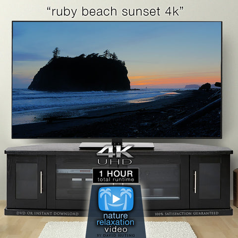 """Ruby Beach Sunset in 4K"" 1 HR Real-Time Dynamic Nature Film"