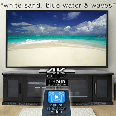 """White Sand, Blue Water & Waves"" 1 Hour Static 4K Scene - Fiji"