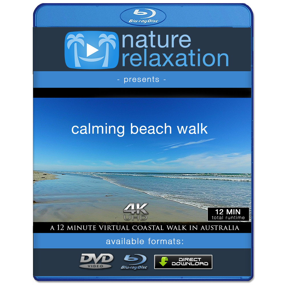"""Calming Beach Walk"" 12 Min Virtual Walk Video + Music in 4K"