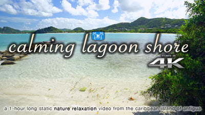 """Calming Lagoon Shore"" 1 Hour 4K Static Caribbean Video"