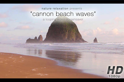 """Cannon Beach Sunset Waves"" 1 HR Static Nature Scene 1080p HD"