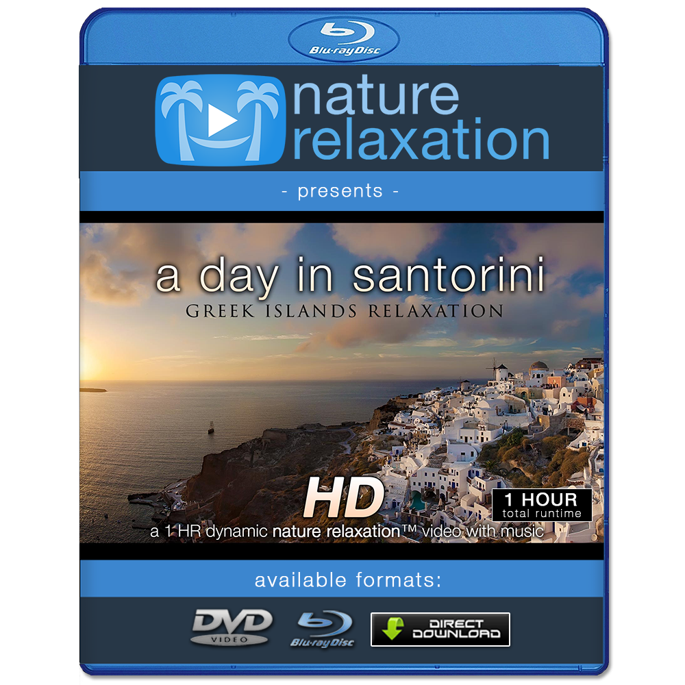 """A Day in Santorini"" 1 HR Greek Islands Relaxation Video (w/Music)"