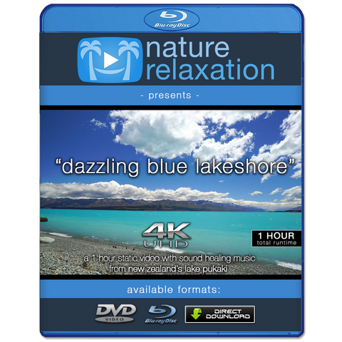 """Dazzling Blue Lakeshore"" 1 HR Static New Zealand Video 4K"