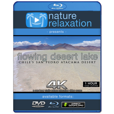 """Flowing Desert Lake"" 1HR Static Nature Relaxation Video 4K"