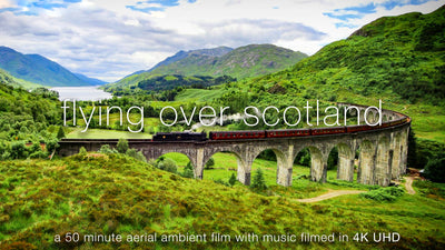 """Flying Over Scotland"" Highlands 1 HR Aerial 4K Nature Film + Music"