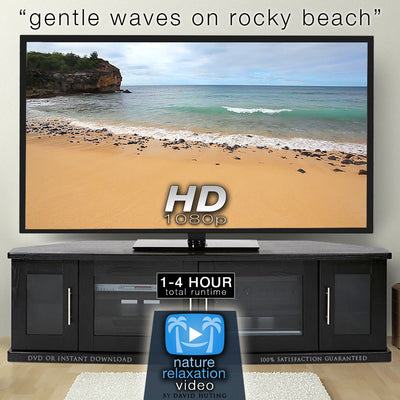 """Gentle Waves on Rocky Beach"" 1 HR Static Nature Scene HD"