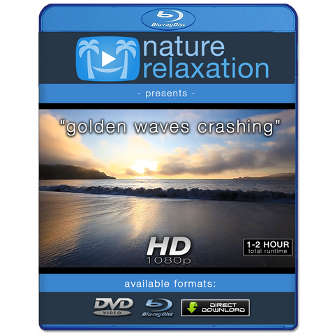 """Golden Waves Crashing at Sunset"" Looping Nature Relaxation Video Screensaver HD 1080p"