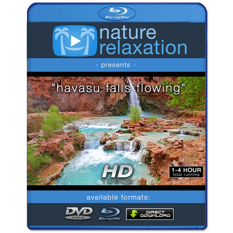 """Havasu Falls Flowing""1 HR Static Nature Video Scene HD"