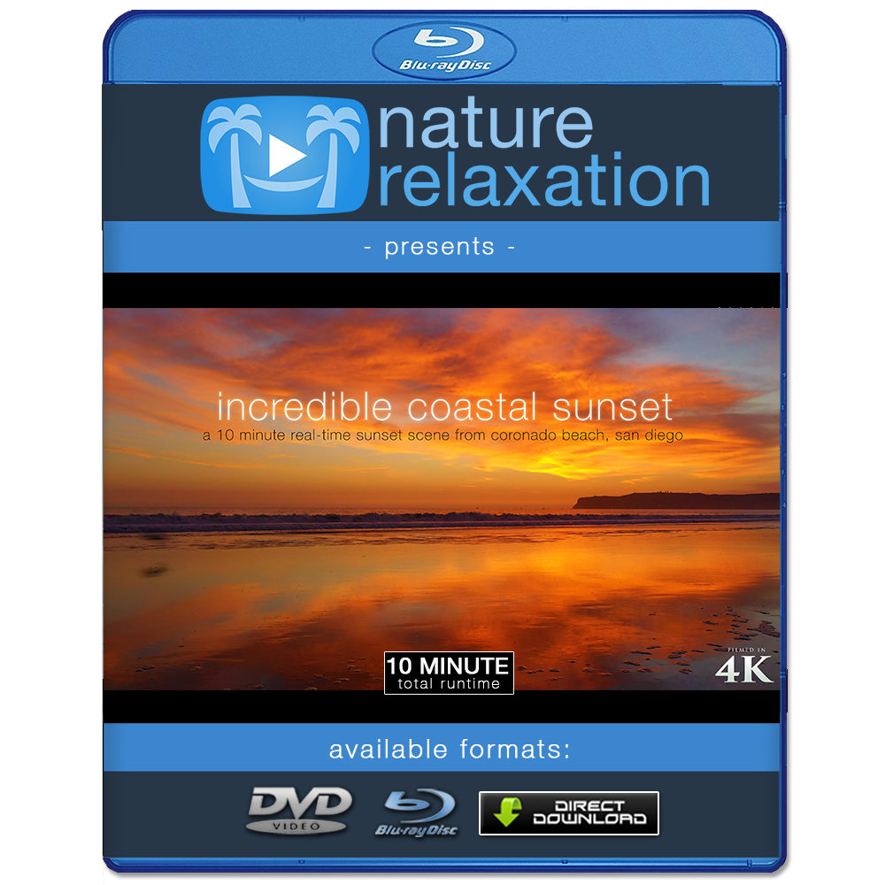 """Incredible Coastal Sunset"" San Diego 10 Minute Nature Scene + Sounds 4K"