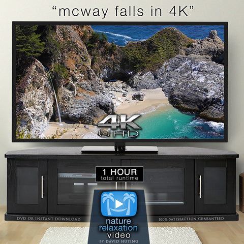 """McWay Falls in 4K"" Big Sur 1 HR Static Nature Scene + Sounds"