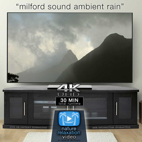 """Milford Sound Ambient Rain"" 30 MIN Dynamic Nature Video 4K"