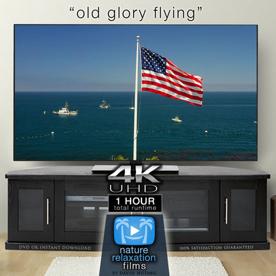 """Old Glory Flying"" 1 HR 4K Static Flag + Ocean Video Scene"