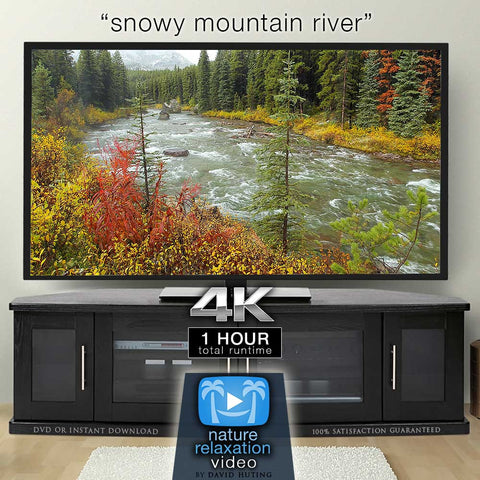 """Snowy Mountain River"" Static Nature Video Scene 4K UHD"