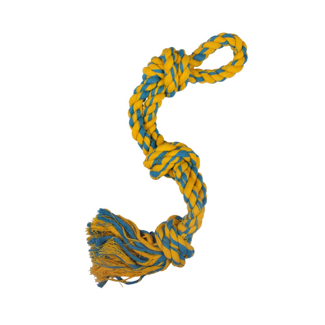 Poochles Double Rope with Triple Knotted Dog Rope Toy-Dog Toys-Poochles-Yellow with Green-Poochles India