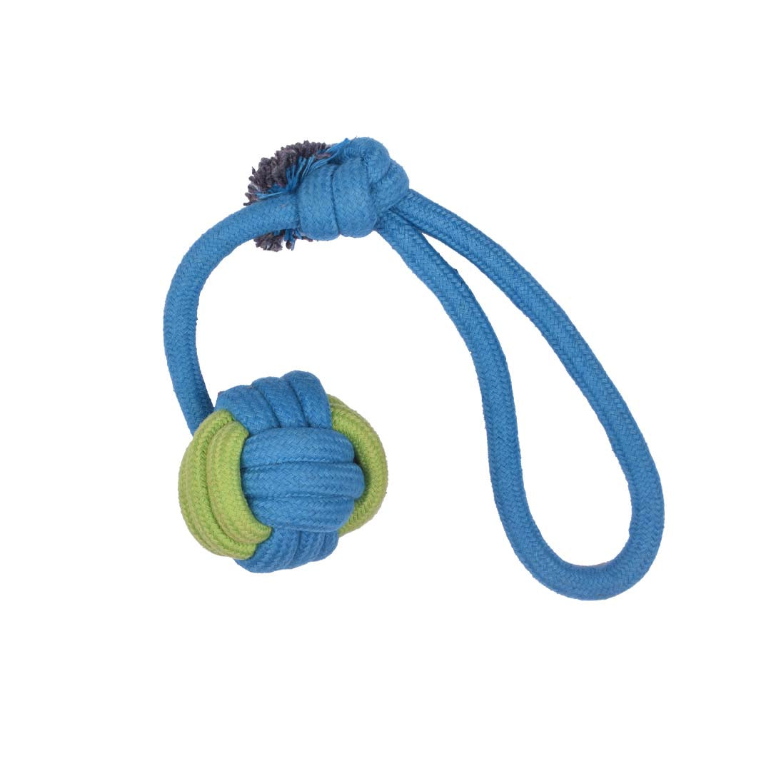 Poochles Dog Rope Toy With Knotted Ball And Handle-Dog Toys-Poochles-Blue with Green-Poochles India