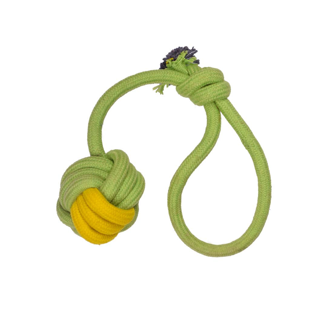 Poochles Dog Rope Toy With Knotted Ball And Handle-Dog Toys-Poochles-Green with Yellow-Poochles India