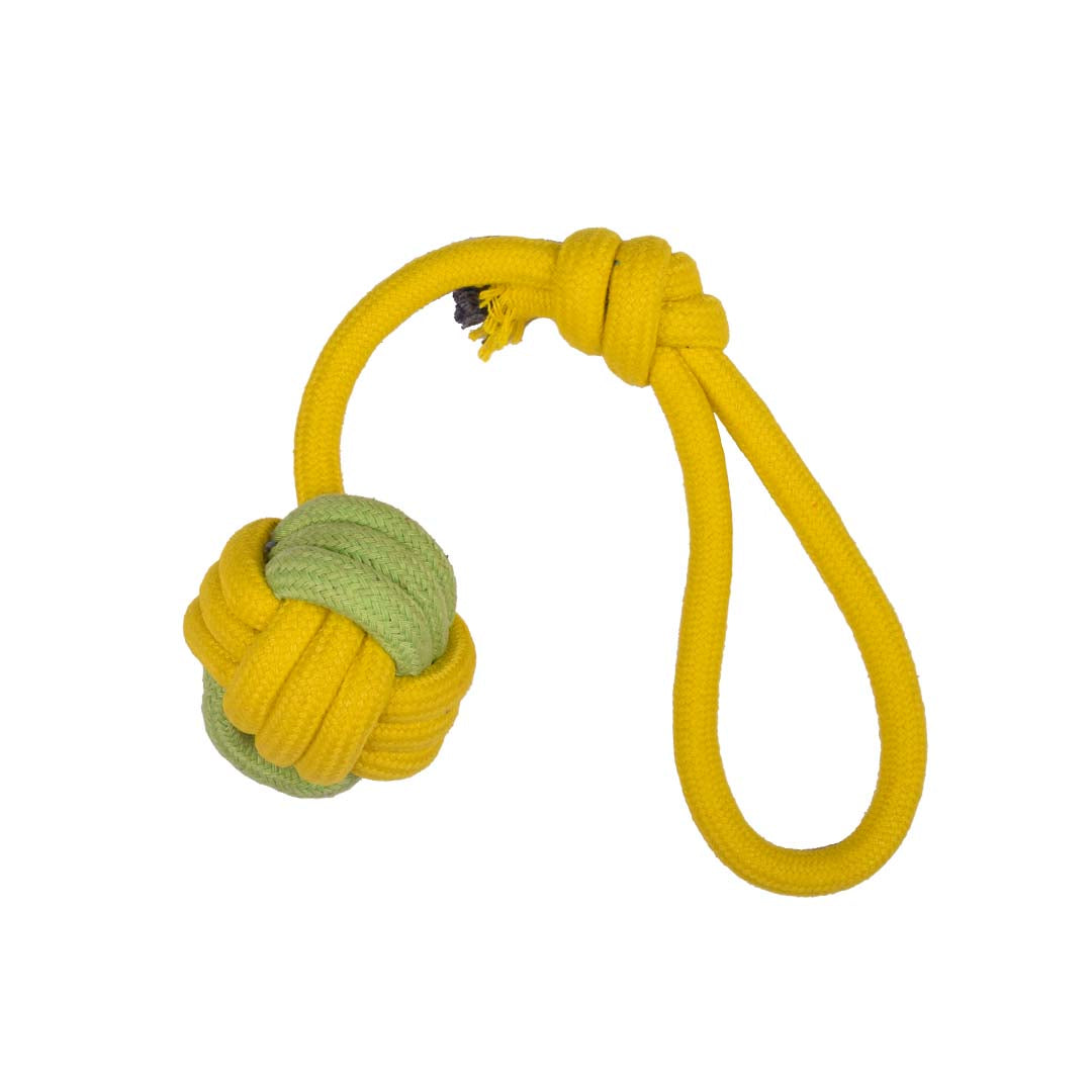 Poochles Dog Rope Toy With Knotted Ball And Handle-Dog Toys-Poochles-Yellow with Green-Poochles India