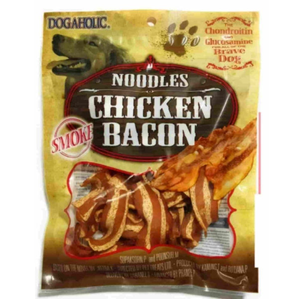 Dogaholic Noodles Chicken Bacon Strips Smoked Dog Chew Treats-Treats-ABK-Poochles India