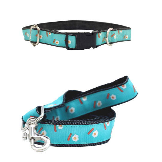 Eggs With Bacon Collar & Leash Set For Dogs - Poochles
