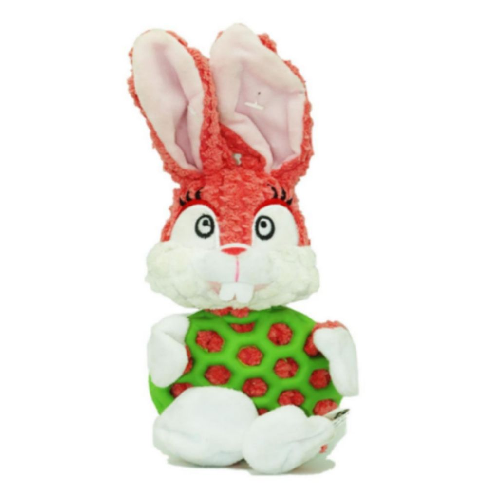 EE Toys Rubber N Plush Rabbit Dog Toy - Poochles