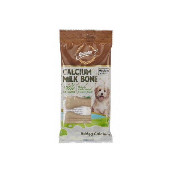 Gnawlers Calcium Milk Bone Dog Chew Treats-Treats-Gnawlers-4pcs-Poochles India