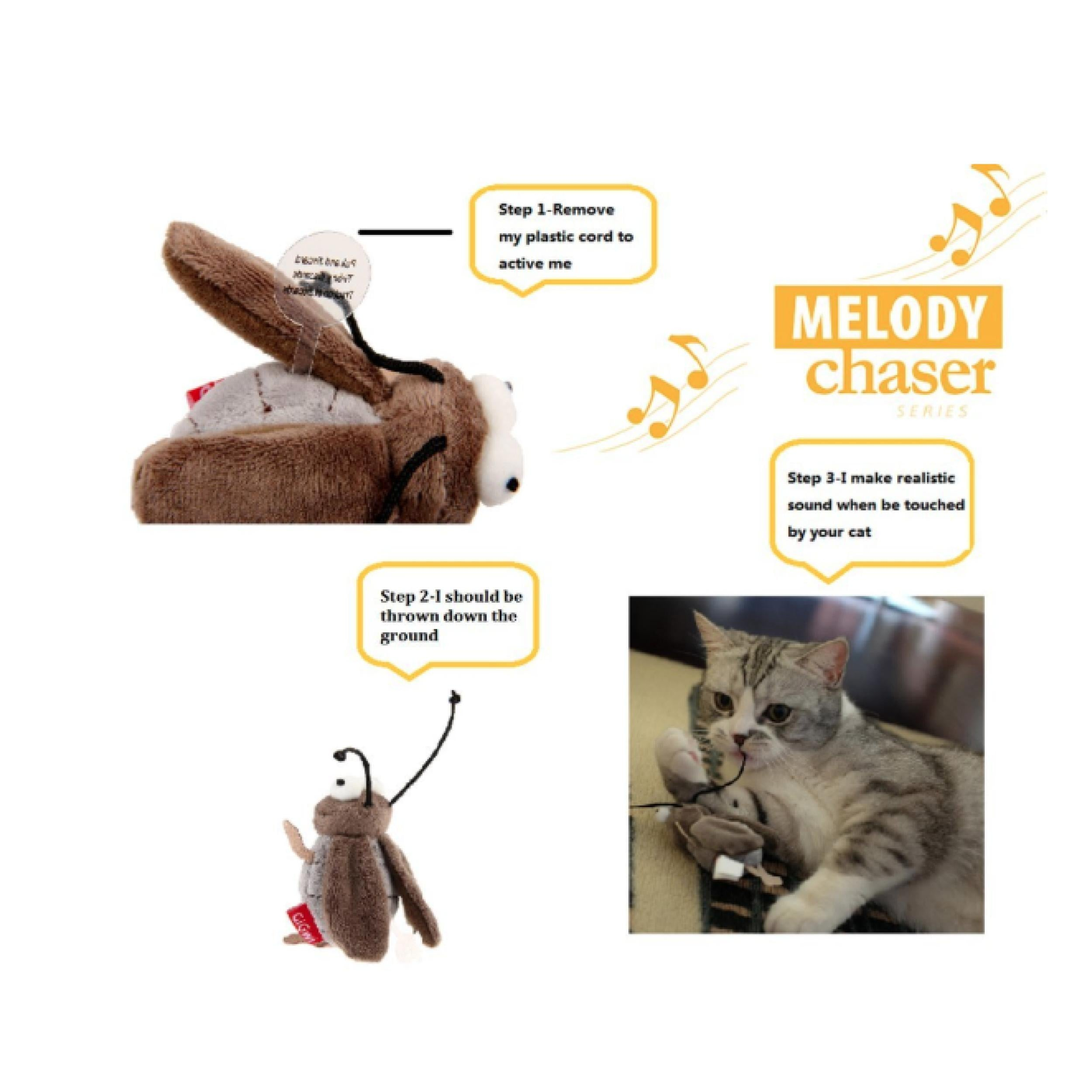 Gigwi Melody Chaser Cricket Interactive Cat Toy - Poochles