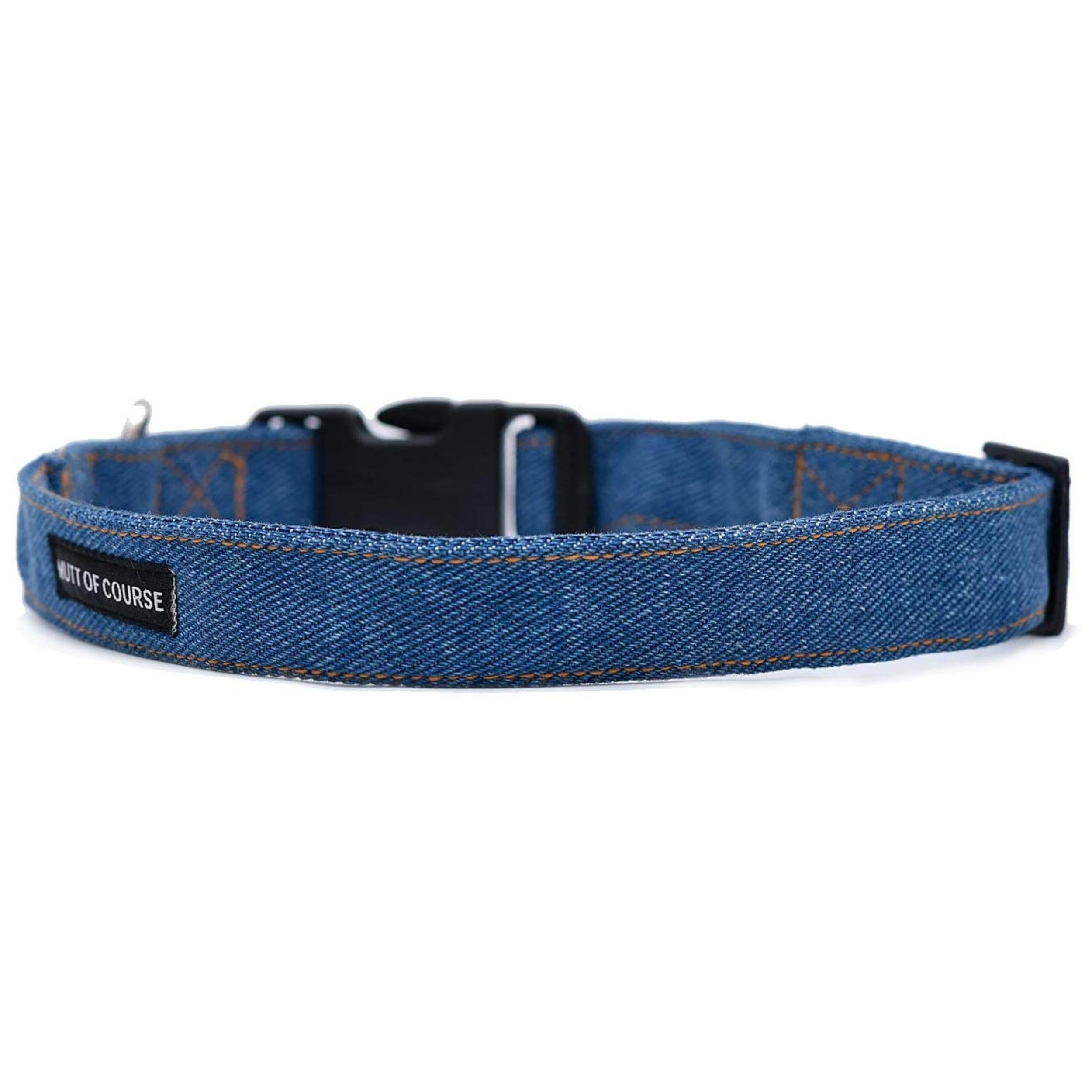 Mutt of Course Dark Blue Denim Collar & Leash Set For Dogs - Poochles