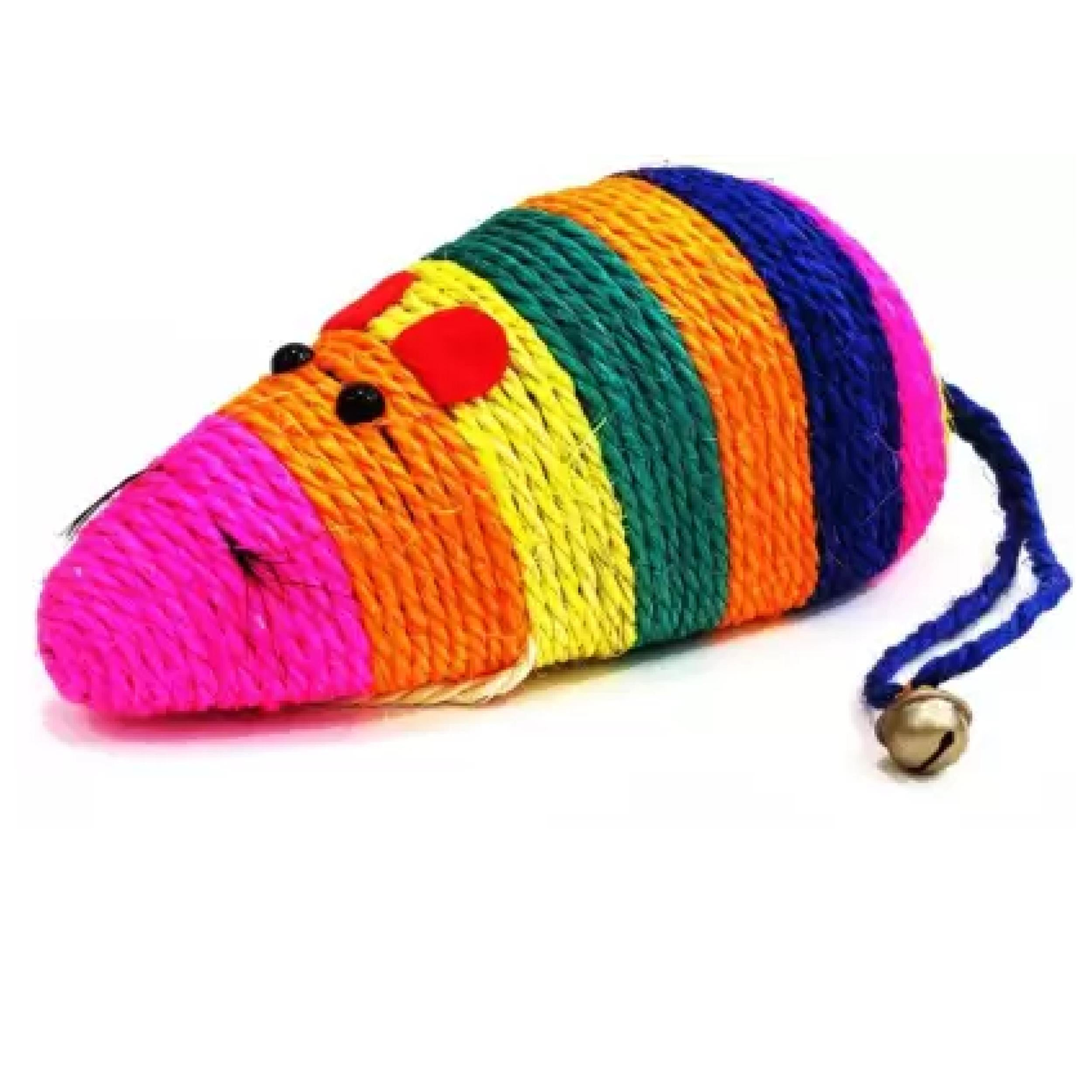 Multi color sisal mouse shaped cat toy - Poochles