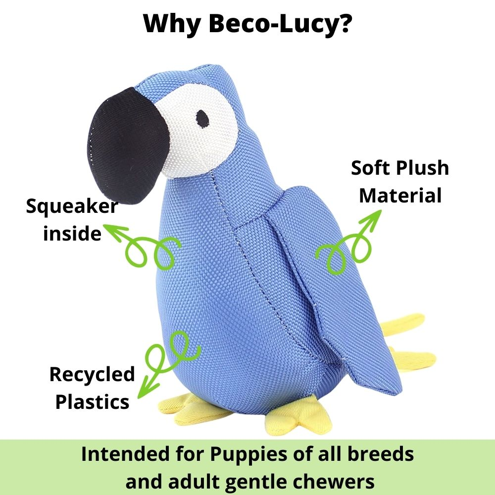 """Lucy The Parrot"" Plush Dog Toy For Puppies And Gentle Chewers-Dog Toys-Beco-Small-Poochles India"