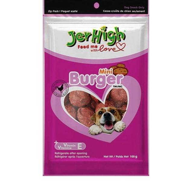 JerHigh Mini Burger Dog Treat Snacks - Poochles